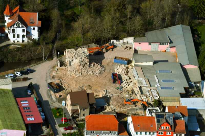 Demolition and disposal work on the remains of the ruins of the old malt factory on Salzstrasse - Bergstrasse in Bad Sulza in the state Thuringia, Germany