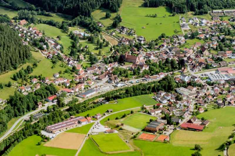 Town on the banks of the river of the river Murg in Baiersbronn in the state Baden-Wuerttemberg, Germany
