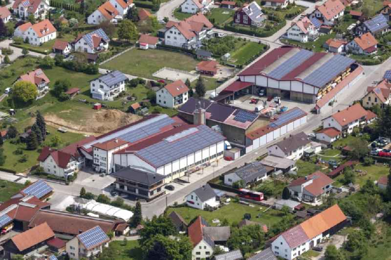 Building and production halls on the premises of Kalchschmid GmbH & Co. KG on Pfarrer-Rost-Strasse in Balzhausen in the state Bavaria, Germany. Further information at: Kalchschmid GmbH & Co. KG.