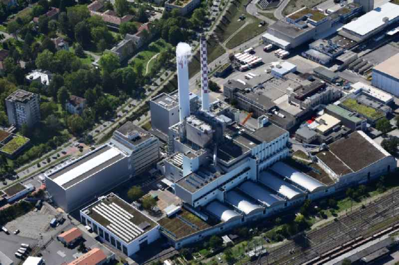 Power plants and exhaust towers of waste incineration plant station KVA in Basel, Switzerland.