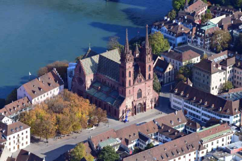 Church building of the cathedral Basler Muenster in the old town in Basel, Switzerland