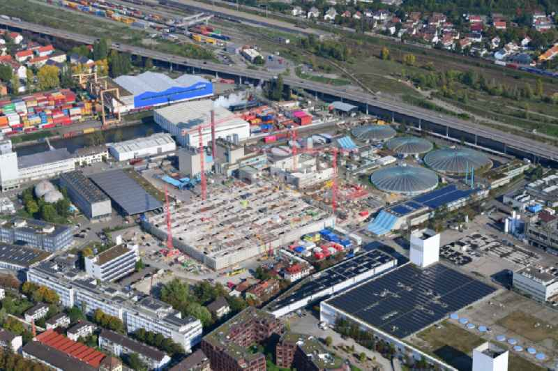 New construction site and extension of the sewage treatment basins and purification stages of the plant of ProRheno in the district Kleinhueningen in Basel, Switzerland