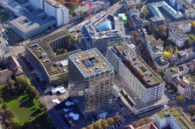 Life-Sciences-Campus in the district Schaellemaetteli with high-rise building Biocenter of the university Basle and the new building ' Departement of Biosystems Science and Engineering ' D-BSSE of ETH Zuerich in Basle in Switzerland