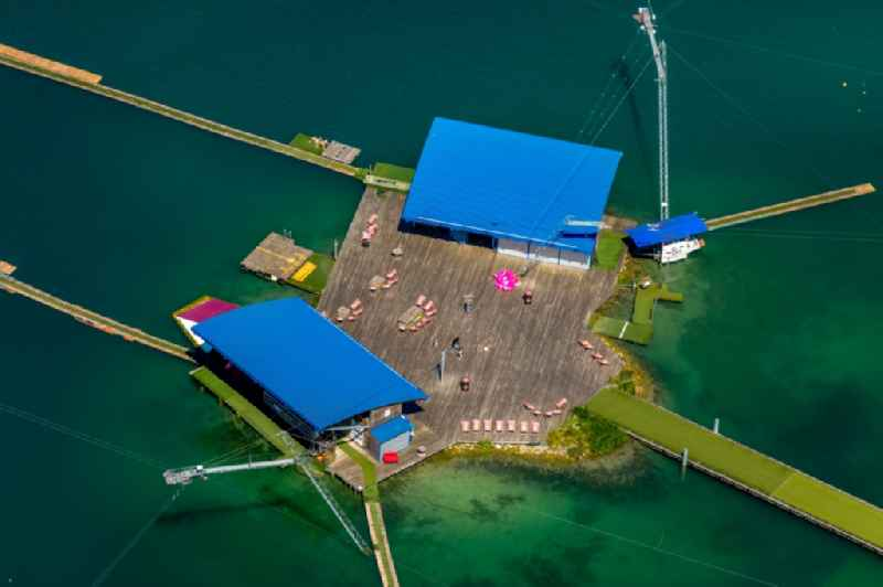 Leisure facility with a water ski cable car Park am Tuttenbrocksee in Beckum in the federal state of North Rhine-Westphalia, Germany