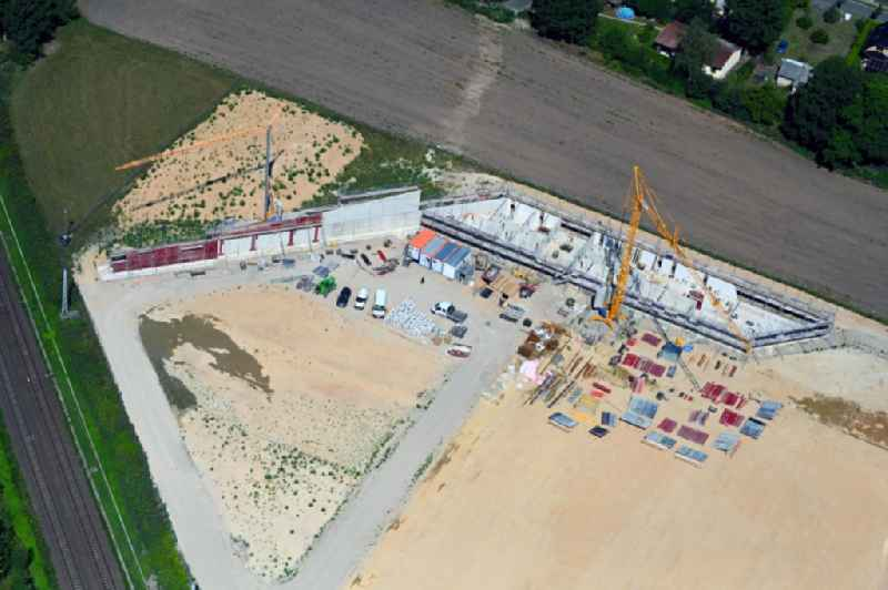 Construction of new Ensemble of sports grounds ' Sportpark Bergfelde ' on Fasanenallee in Bergfelde in the state Brandenburg, Germany