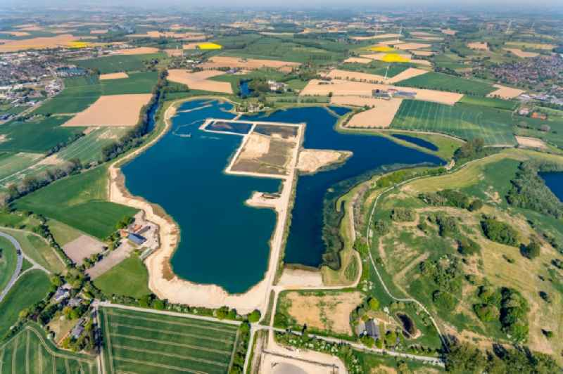 Excavated lakes, Aspeler Meer lake region and nature protection area in Bergswick in the state of North Rhine-Westphalia