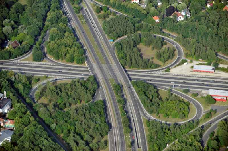 Motorway junction Zehlendorf of the freeway A 115 and the A-Road 1 in the district Nikolassee of Berlin-Zehlendorf