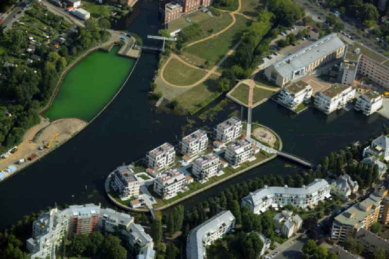 Sea Island on the Tegeler See in the district Reinickendorf in Berlin in Germany. The condominiums - apartment buildings are property of the Martrade Immobilien GmbH & Co. KG.