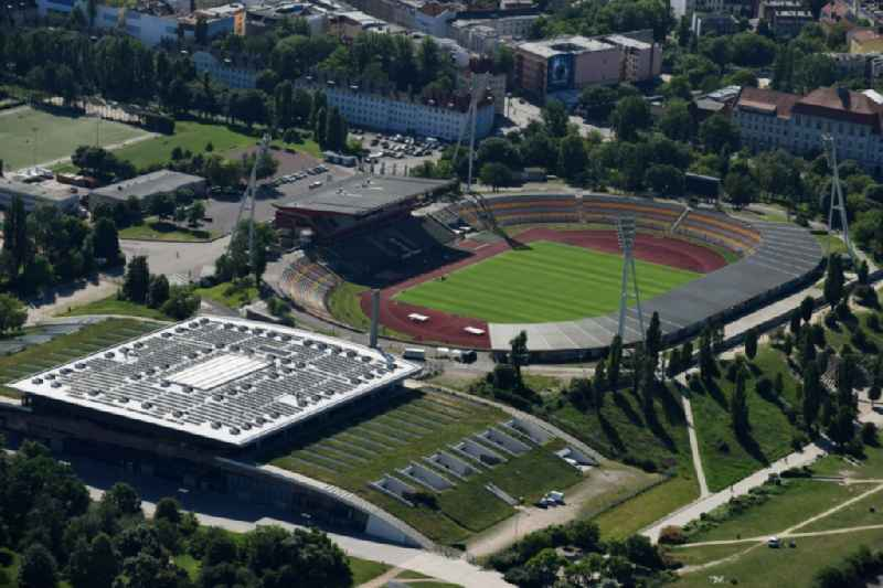 Stadium at the Friedrich-Ludwig-Jahn-Sportpark with Max-Schmeling-Halle in Berlin Prenzlauer Berg