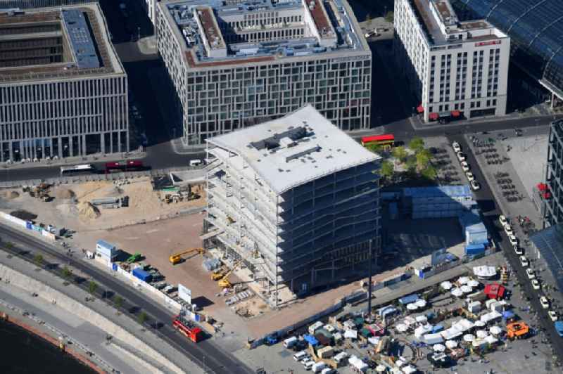 Construction site to build a new office and commercial building cube berlin on Washingtonplatz - Rahel-Hirsch-Strasse in Berlin, Germany