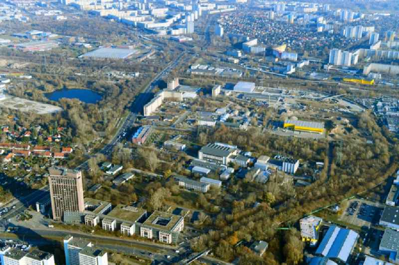 Industrial estate and company settlement Rhinstrasse - Pyramidenring - Frank-Zappa-Strasse - Landsberger Allee in the district Marzahn in Berlin, Germany