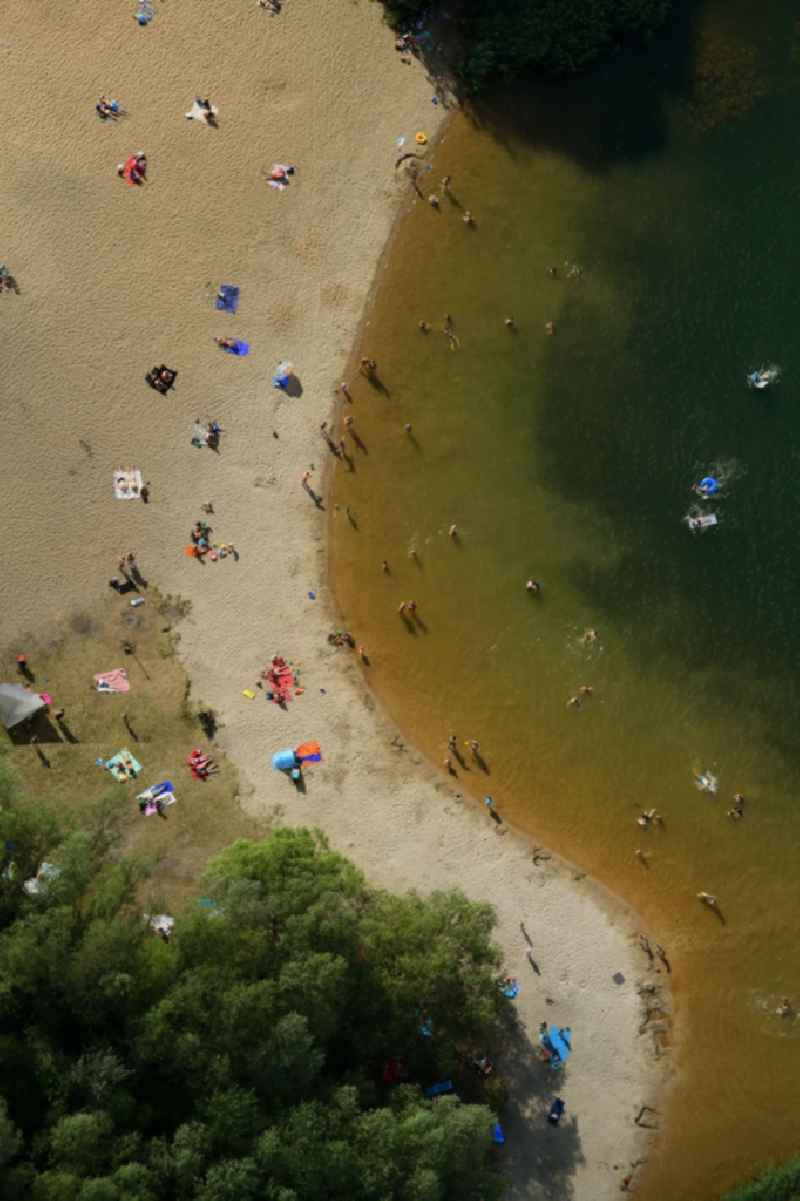 Sandy beach areas on the ' on Kaulsdorfer See ' in the district Kaulsdorf in Berlin, Germany.
