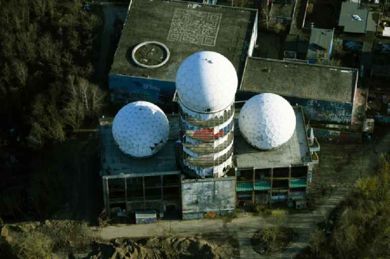 Ruins of the former American military interception and radar system on the Teufelsberg in Berlin - Charlottenburg