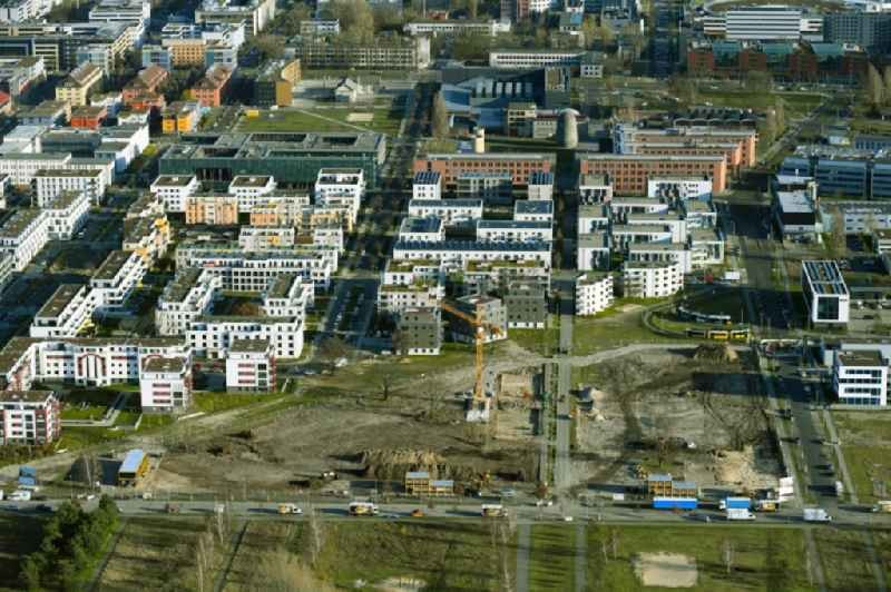 Residential construction site with multi-family housing development- on the Hermann-Dorner-Allee - Alexander-von-Humboldt-Weg - Karl-Ziegler-Strasse in the district Adlershof in Berlin, Germany
