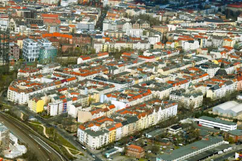 District view with streets and houses of the residential areas in the urban area in the Schoeneberg district in Berlin, Germany