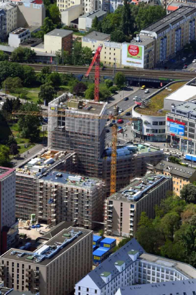 Construction site for the new residential and commercial building on the Rathausstrasse in the district Lichtenberg in Berlin, Germany