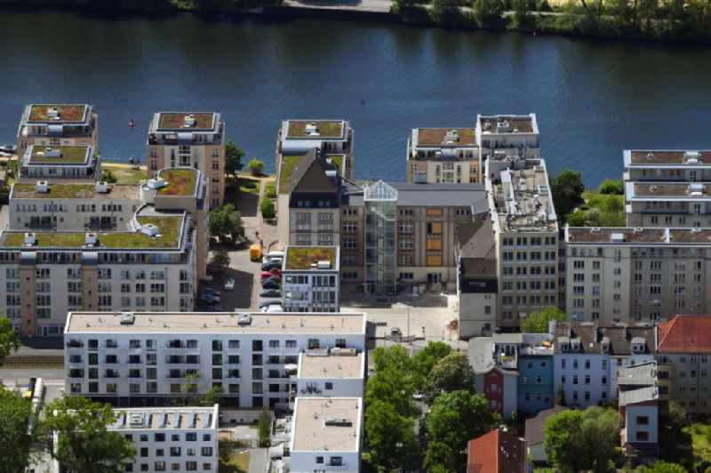 Residential estate 'Spree28' on the riverbank of the river Spree in the Koepenick part of the district of Koepenick in Berlin in Germany. The estate includes apartments and flats and is located right on the river on Lindenstrasse