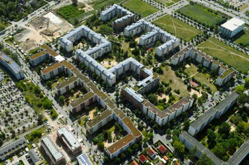 Residential area of a multi-family house settlement Plauener Strasse - Sollstaedter Strasse - Arendsweg in the district Hohenschoenhausen in Berlin, Germany