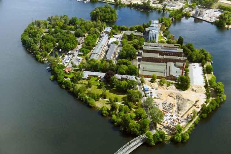 Construction site for the construction of an apartment building on the Havel island of Eiswerder in the district of Hakenfelde in Berlin, Germany