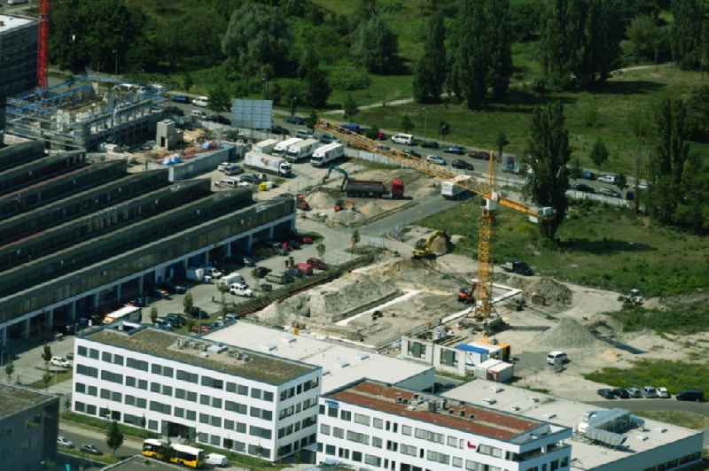 Construction site to build a new multi-family residential complex Hermann-Dorner-Allee in the district Adlershof in Berlin, Germany
