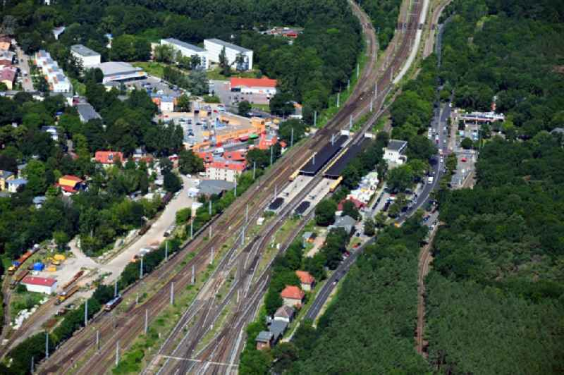 Station building and track systems of the S-Bahn station in the district Gruenau in Berlin, Germany