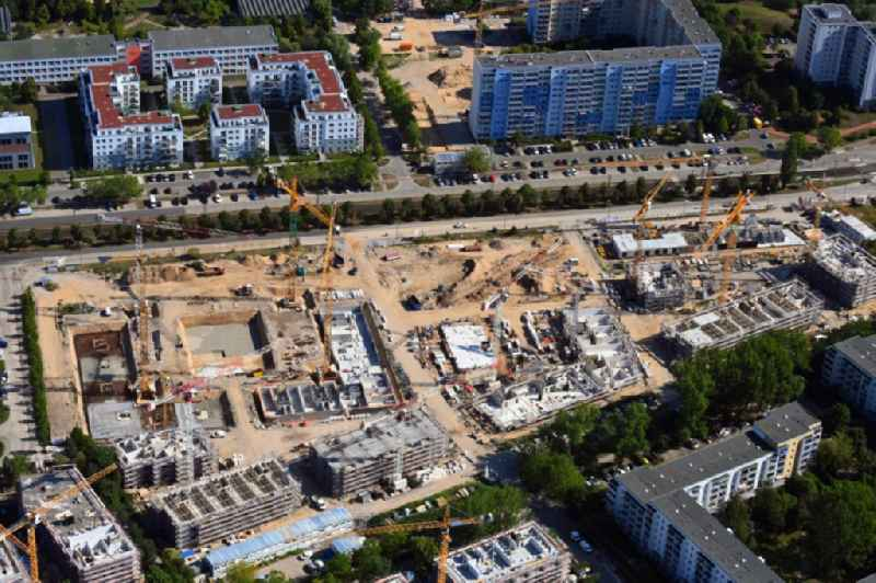 Residential construction site with multi-family housing development- on the fuer gefluechtete Menschen on Zossener Strasse corner Havellaender Ring in the district Hellersdorf in Berlin, Germany