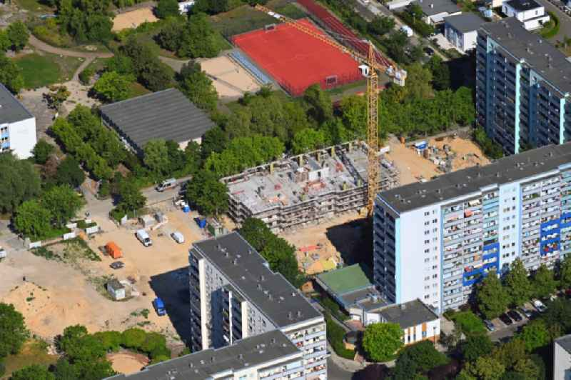Construction site for the multi-family residential building in the Mittenwalder Strasse in the district Hellersdorf in Berlin, Germany