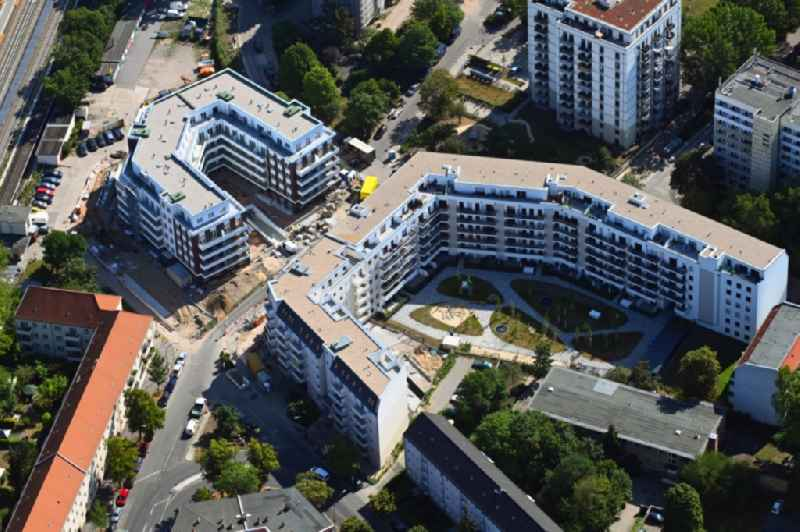 Residential construction site with multi-family housing development-  on the Rosenfelder Ring corner Skandinavische Strasse in the district Lichtenberg in Berlin, Germany