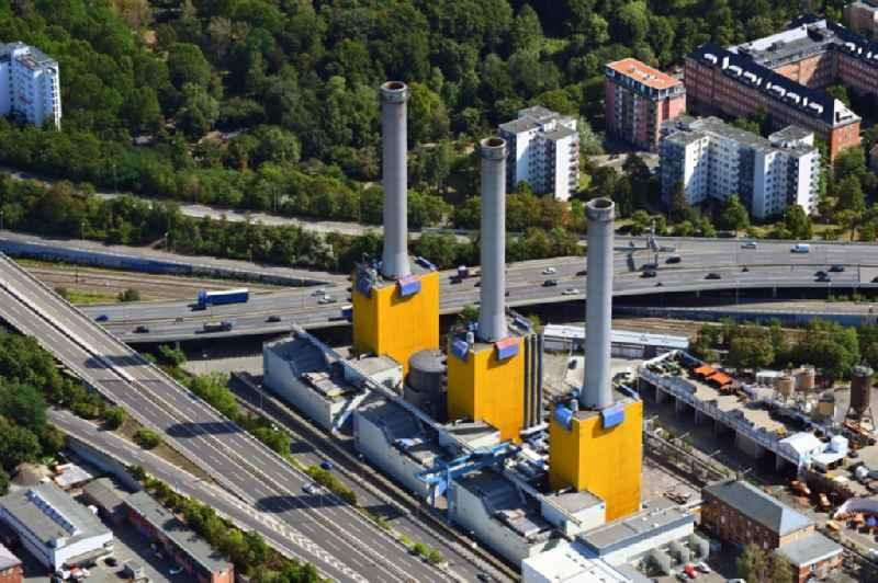 Power plants and exhaust towers of thermal power station Wilmersdorf on Forckenbeckstrasse in Berlin, Germany