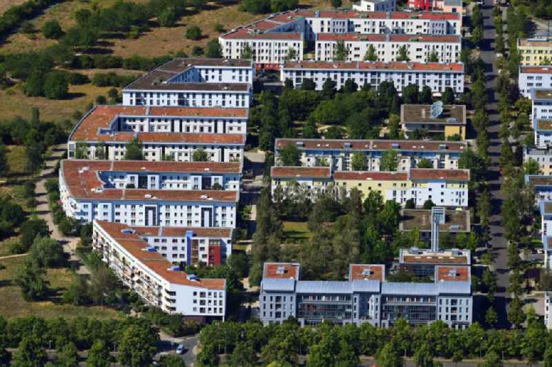 Residential area of the multi-family house settlement between Hiltrud-Dudek-Weg and Jeanette-Wolff-Strasse in the district Rudow in Berlin, Germany