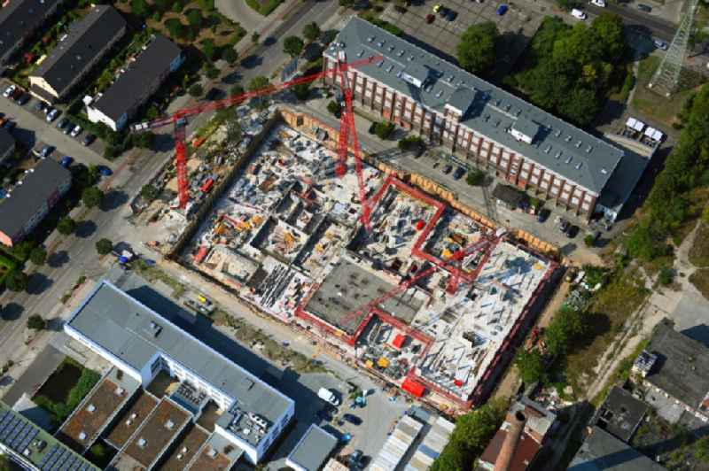 Construction site to build a new office and commercial building on Bornitzstrasse in the district Lichtenberg in Berlin, Germany