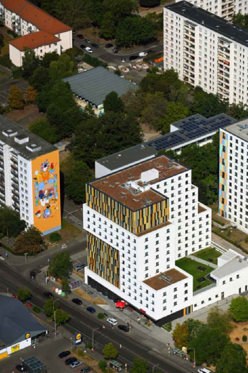Student dorm ' House of Nations ' on Storkower Strasse corner Alfred-Jung-Strasse in the district Lichtenberg in Berlin, Germany
