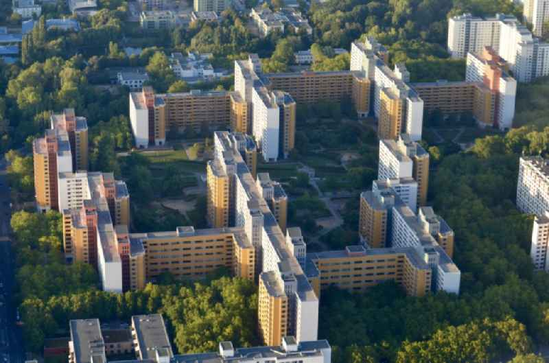 Skyscrapers in the residential area of industrially manufactured settlement in the district Maerkisches Viertel in Berlin, Germany