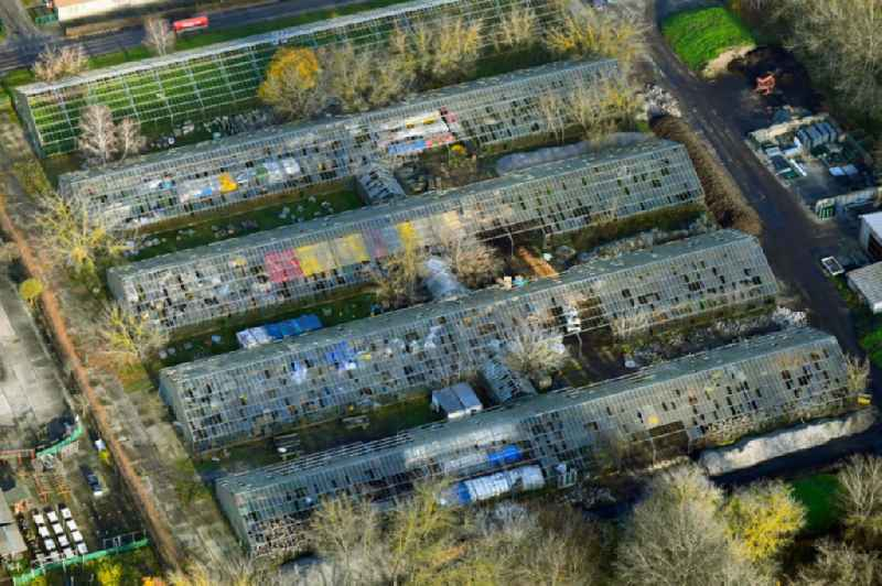 With scrap and garbage-filled, decaying greenhouse rows in the district Wartenberg in Berlin, Germany
