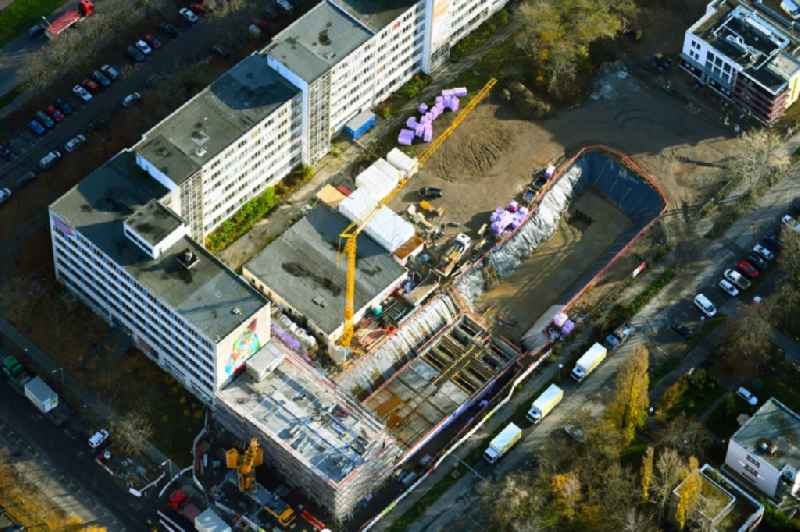 Construction site for reconstruction and modernization and renovation of an office and commercial building ' Das Atelierhaus ' on Prenzlauer Promenade Corner Arnold-Zweig-Strassein the district Pankow in Berlin, Germany