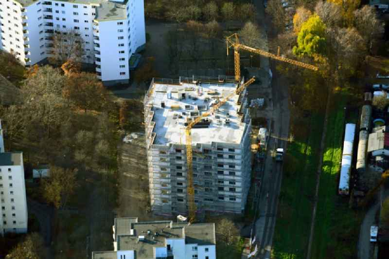 Construction site for the new construction of an apartment building on Bruchstueckegraben in the Maerkisches Viertel district in Berlin, Germany