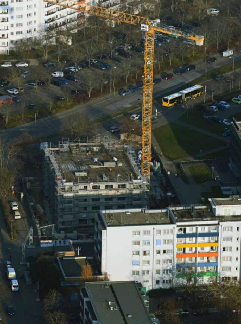 Construction site for the multi-family residential building Mehrower Allee corner Sella-Hasse-Strasse in the district Marzahn in Berlin, Germany