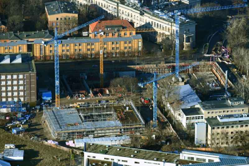 Construction site for a new research building and an office complex for the Faculty of Mathematics at the TU Berlin on Fasanenstrasse - Mueller-Breslau-Strasse in the district Charlottenburg in Berlin, Germany