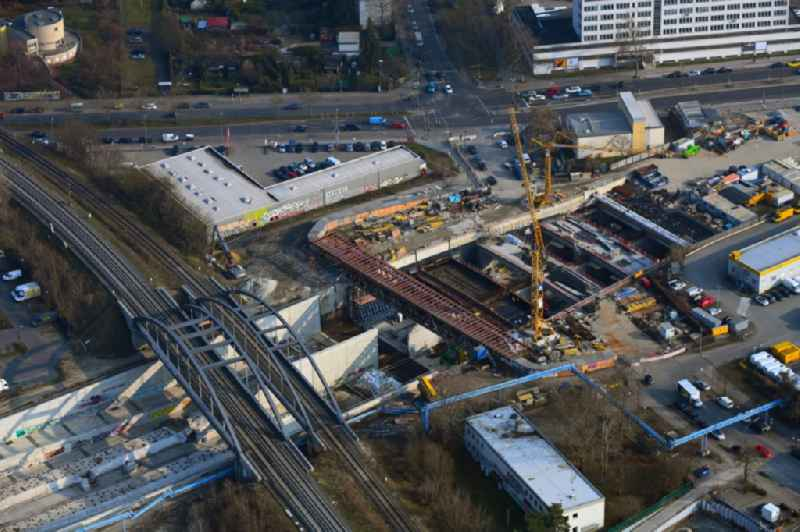 Civil engineering construction sites for construction of the extension of the urban motorway - Autobahn Autobahn A100 in Berlin Neukoelln