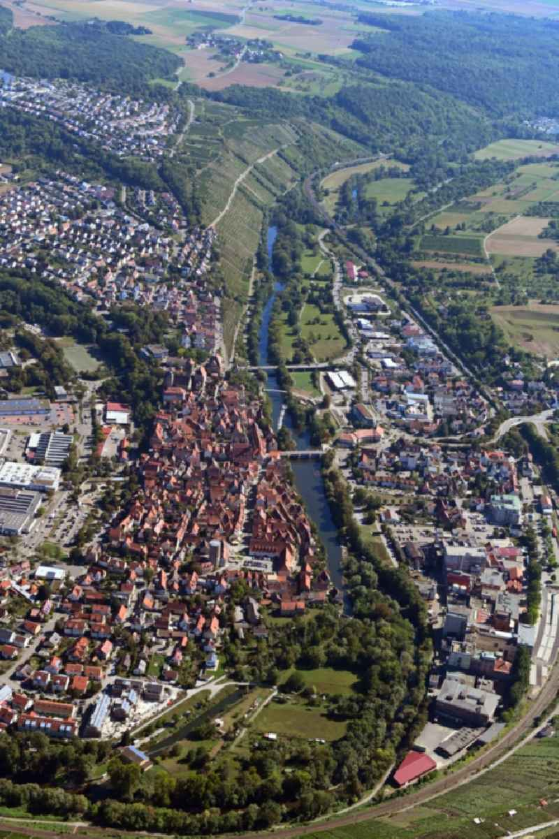 City view on the river bank of the river Neckar in Besigheim in the state Baden-Wuerttemberg, Germany