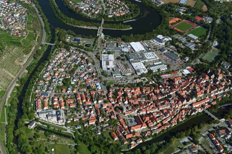 City view on the river bank of the river Neckar in Besigheim in the state Baden-Wurttemberg, Germany