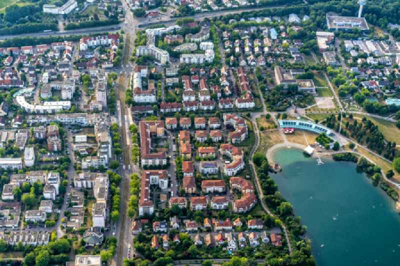 Residential area of the multi-family house settlement Am Flueckigersee in Betzenhausen in the state Baden-Wurttemberg, Germany.