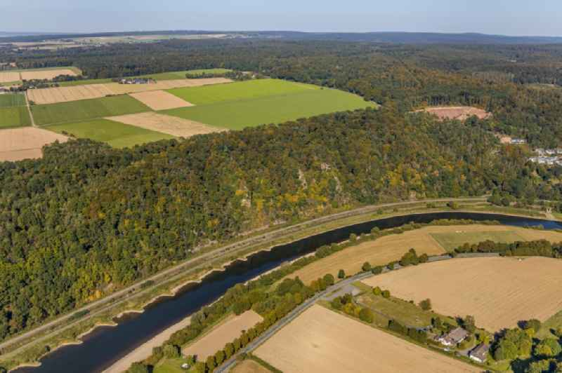 Riparian zones on the course of the river of the Weser on 'Weser-Skywalk' and 'Honnoversche Klippen' in Beverungen in the state North Rhine-Westphalia, Germany