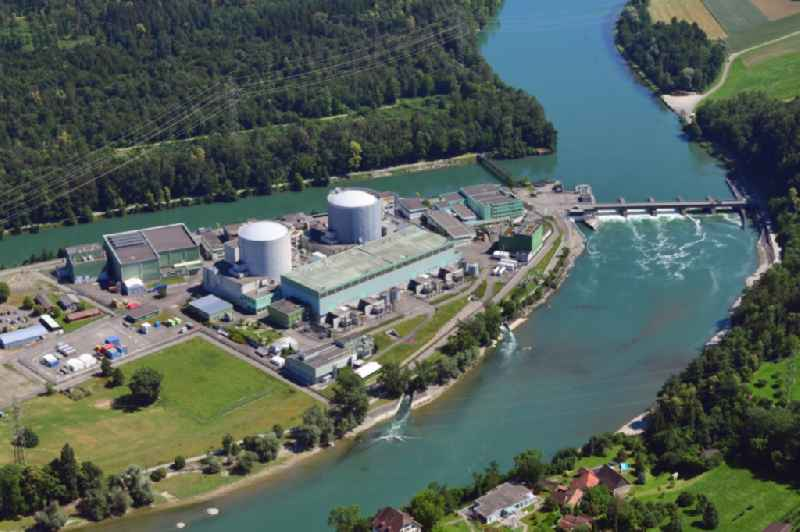 Building remains of the reactor units and facilities of the NPP nuclear power plant on river of Aare in Beznau in the canton Aargau, Switzerland