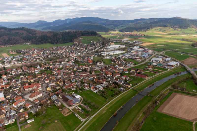 Town on the banks of the river of the Kinzig river in Biberach in the state Baden-Wuerttemberg, Germany