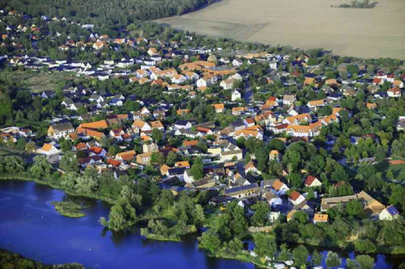 Village on the banks of the area of Ehle - Biederitzer See in Biederitz in the state Saxony-Anhalt, Germany.