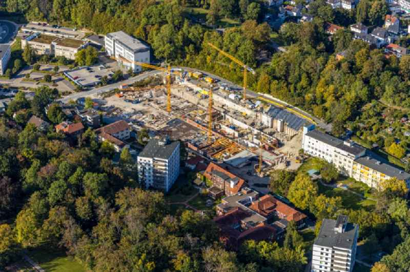 New construction site for a medical center and hospital clinic of the children's hospital on Bethesdaweg corner Grenzweg in Bielefeld in the state North Rhine-Westphalia, Germany