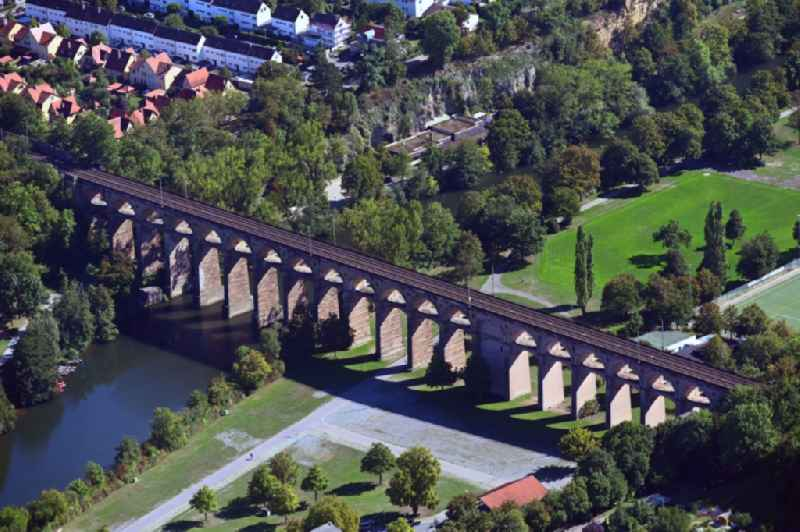 Viaduct of the railway bridge structure to route the railway tracks in Bietigheim-Bissingen in the state Baden-Wurttemberg, Germany