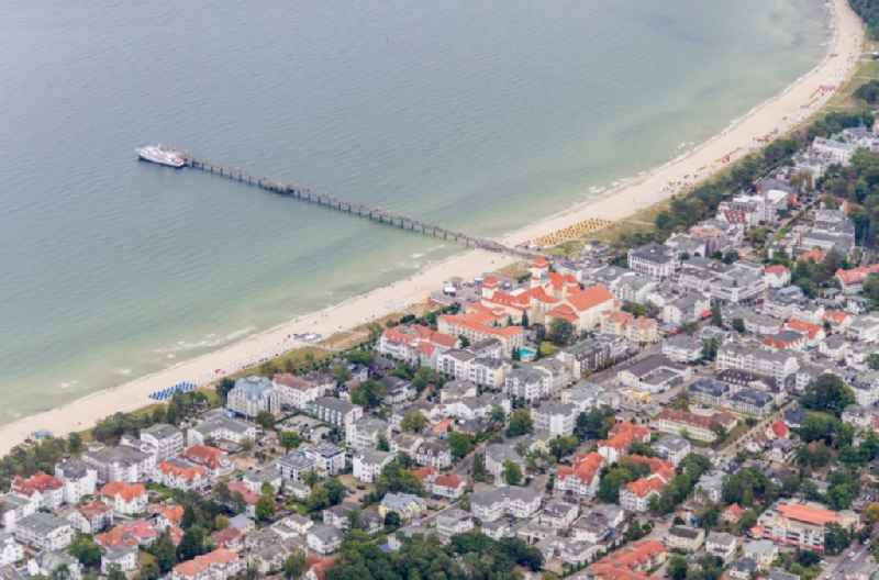 City view on down town with Strand and Seebruecke in Binz in the state Mecklenburg - Western Pomerania, Germany.