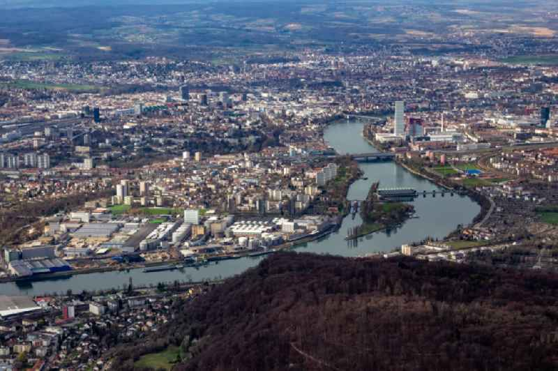 City view on the river bank of the Rhine river in Birsfelden and Basel in the canton Basel-Landschaft, Switzerland